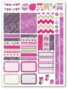 Pink Fox Decorating Kit / Weekly Spread Planner Stickers