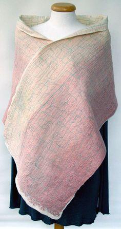 ombre shawl scarf old rose pastel mint nuno felting by gaiagirard