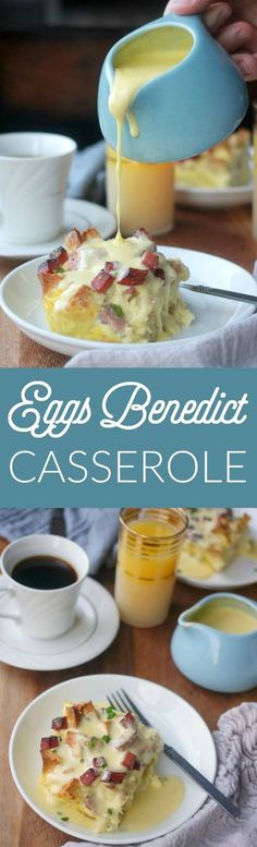 Overnight eggs benedict casserole is my solution to wanting to serve eggs benedict at brunch but not wanting to be standing over the stove poaching eggs. No poaching required here! Eggs Benedict Casserole, Egg Benedict, Overnight Breakfast Casserole, Breakfast Casserole Sausage, Sausage Bread, Brunch Casserole, Christmas Brunch, Christmas Breakfast, Christmas Morning