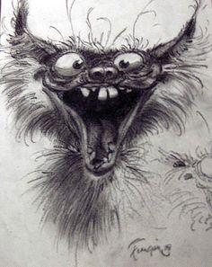 Les monstres de Franquin Plus Art And Illustration, Illustrations, Cartoon Drawings Of Animals, Interesting Animals, Art Graphique, Cat Drawing, Drawing Poses, Dark Art, Cute Art