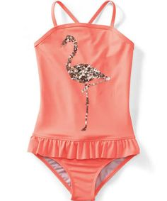 Baby Flamingo Swimsuit - Can't go wrong with flamingos and glitter!