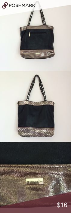 """Youmi K Large Handbag Youmi K black and gold shoulder bag. Gold has a snakeskin type look to it. Studded handles. Measures approximately 15""""x14"""". Features exterior zippered pocket, interior zippered pocket, two slip pockets, middle zippered pocket and extra storage on either side of middle pocket. This bag looks pretty much new  on the outside except for one spot shown in last photo. Not that noticeable, the camera is reflecting light on it and the interior has quite a bit of pilling. Feel…"""