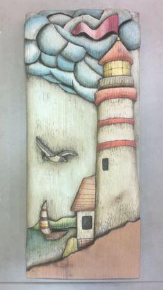 """Projeto """"Farol"""". Peça entalhada e pintada a mão em cedro(vendida)."""