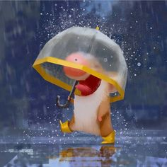 Rain 2 by Lynn Chen. Rain Illustration, Graphic Illustration, Character Art, Character Design, Cute Animal Drawings, Cute Characters, Illustrations And Posters, Cartoon Art, Cute Art