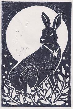 'Hare and Moon Lino Print' Greeting Card by Hazel Partridge Linocut Prints, Poster Prints, Rabbit Art, Rabbit Head, Linoprint, Making Ideas, Printmaking, Folk Art, Art Drawings