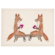 Coral and Tusk - fox valentines embroidered stationery