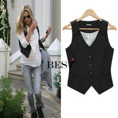 salopette Fashion patchwork slim waist slim Women formal vest black suit vest cool shrug