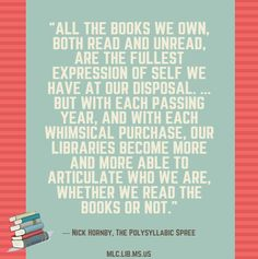 #HappyBirthday to author @nickhornby.  Today's quote comes from his book The Polysyllabic Spree. #reading #library