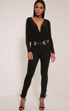 Petite Talia Black Long Sleeve Cross Front Bodysuit Image 4