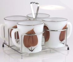 RARE Fire King Mug Set Hand Painted Brown Leaves Silver Rim Cups in Holder Tray