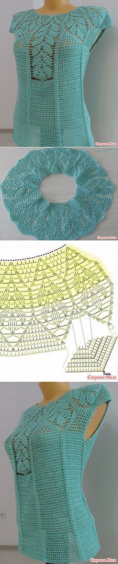 Blouses & # Blue jellyfish & # and & # Leaflet - crochet - Crochet Woman, Crochet Baby, Knit Crochet, Crochet Designs, Crochet Cardigan, Beautiful Crochet, Crochet Crafts, Crochet Clothes