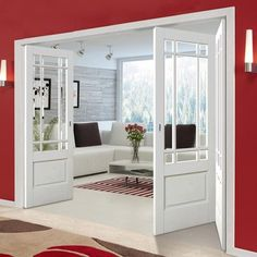 Thrufold Downham White Primed 21 Folding Door - Bevelled Clear Glass - July 30 2019 at Door Dividers, Room Divider Doors, French Door Curtains, French Doors, Living Room Designs, Living Room Decor, Internal Folding Doors, Indoor Doors, Oak Doors