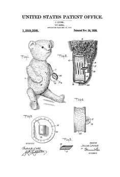 Teddy Bear Patent Poster 1920  Patent Print by PatentsAsPrints