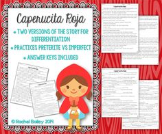 Caperucita Roja - Two versions of the classic Little Red Riding Hood tale to practice the preterite and imperfect tenses in Spanish, plus comprehension questions $