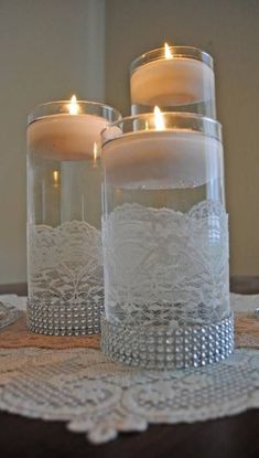 cylinder vase with lace - Google Search