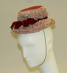 """Hat, Lilly Daché (American, born France, 1904–1989): ca. 1946, American, cotton, straw.     Marking: [label] """"Lillie Daché, Paris, New York, 78 East 56th St."""""""