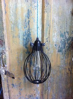Black steel closed wire cage industrial hanging pendant light lamp shade plug coloured cable squirrel cage vintage style filament bulb hook