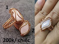 Tutorial DIY Wire Jewelry Image Description Ring with big stones without holes - How to make wire jewelery 254 Wire Jewelry Rings, Wire Jewelry Designs, Copper Jewelry, Wire Earrings, Diy Jewelry, Gold Jewellery, Handmade Jewelry Tutorials, Handmade Rings, Tutorial Anillo