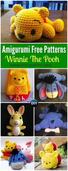 Collection of Crochet Amigurumi Winnie The Pooh Free Patterns: Amigu disney the pooh bear in various designs, bear backpack, eeyore the donkey, via @diyhowto #Crochet, #Toy