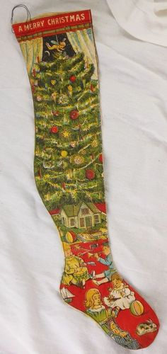 Super Colorful Antique Printed Fabric Christmas Stocking
