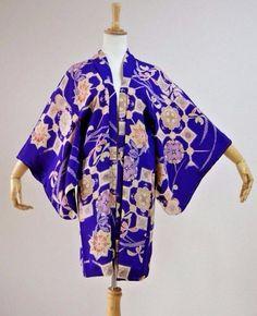 Kimono Dress Japan Vintage haori coat robe Geisha costume used silk KDJM-H0154