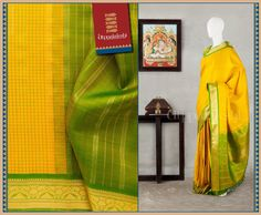 Tiny green checks on the body opens up to a verdant expanse on the pallu. Border is artistic, with elephants and double headed birds placed aesthetically. #Utppalakshi #Silksaree#Kancheevaramsilksaree#Kanchipuramsilks #Ethinc#Indian #traditional #dress#wedding #silk #saree #weaving#Chennai #boutique #vibrant#exquisit#weddingsaree#sareedesign #colorful #vivid #indian #southindian #bridal #festival #sophistication   https://www.facebook.com/Utppalakshi/   Contact: 097899 37149