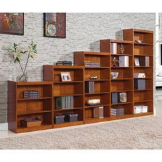 Remmington Heavy Duty Bookcase with Reinforced Shelves - Oak - Bookcases at  Hayneedle. Looks cool staggered in height.