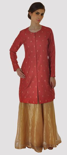 Red Banarasi Zari Handwoven Pure Brocade Silk Jacket
