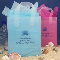 These are cute too!! maybe in yellow and coral!! Personalized wedding welcome bags for destination wedding