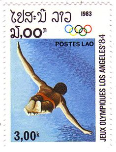 laos stamps for the 1984 olympic games