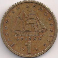 Wertseite: Münze-Europa-Südosteuropa-Griechenland-Drachme-1.00-1976-1986