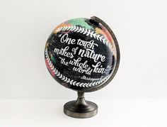 Globe Jotter These wonderful hand-painted globes are by Laura Maxcy, of Mississippi. Each vintage globe is drawn on directly using paint pens and then sprayed with a protective coating. Art Globe, Typography Love, Lettering, Painted Globe, Hand Painted, Vintage Globe, World Globes, Vintage Nursery, Bisque Doll