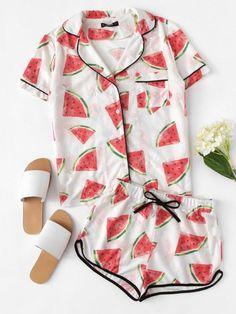 b3c5ee4a8ab8 Watermelon Print Shirt   Contrast Binding Shorts PJ Set