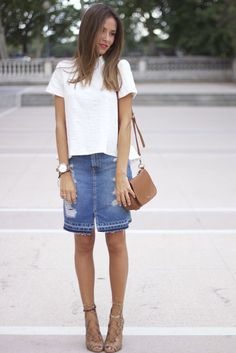 Ripped denim midi skirt (It Girl Marta)