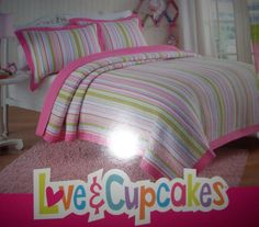 LOVE & CUPCAKES BRIGHT PINK MULTISTRIPE 2 PC SET TWIN Quilt & Standard Sham NIP 10% off sale!! $89.99