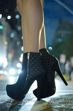 Quilted Craze Platform Stiletto Ankle Booties - Black