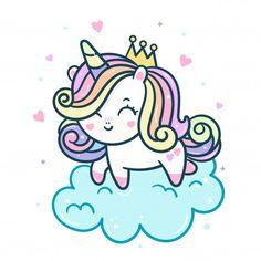 Unicorn Painting, Unicorn Drawing, Unicorn Art, Sweet Drawings, Cute Kawaii Drawings, Easy Drawings, Unicorn Wallpaper Cute, Hello Kitty Iphone Wallpaper, Arte Do Kawaii