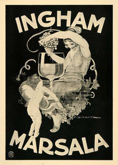 """Poster by Marcello Dudovich, 1927, """"Ingham Marsala""""."""