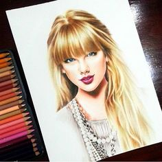 "Taylor Swift on #Strathmore Bristol Smooth 9x12"" using #Prismacolor #ColoredPencil #taylorswift"