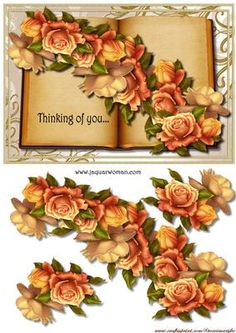 Thinking of you Book on Craftsuprint designed by Marijke Kok - beautiful book with gorgeous roses - Now available for download!