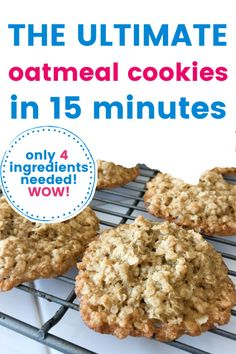 These are the ultimate oatmeal cookies. Made in under 15 minutes with just 4 ingredients, you will be making these over and over again. Family favorites, full of butter, brown sugar and oats, these are addicting and perfect for mommy and me baking. Perfect for dessert, breakfast or brunch or just as a sweet midnight treat, you will love these! Mini Cookies, Oatmeal Cookies, Vegetarian Eggs, School Treats, 4 Ingredients, No Bake Desserts, Rice Krispies, Brown Sugar, Baked Goods