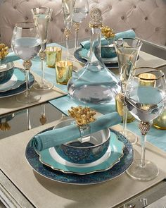 Sunday #StyleTip: Aquamarine is a refreshing, happy hue perfect for a Mother's Day table. Pair it with gold and neutral hues for a light + chic look.