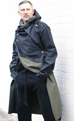 Men's Deconstructed Gothic Denim Coat. Gothic monk meets urban punk.
