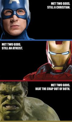 The Avengers who met two gods - Captain America, Iron Man and The Hulk.