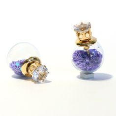 Clear Ball Double Sided Earrings Color: Purple, Type: studs, Shop at www.krasakart.com