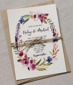 Etsy Boho Chic Wedding Invitation Floral Wedding Invitation,,,