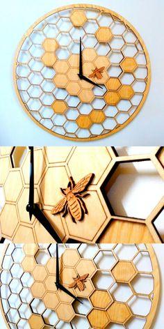 Bee honeycomb wooden wall clock, wall art, #ad #Etsy #bee #bees #clock #homedecor