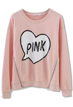 Sequins Heart Zip Sweater