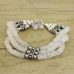 Rainbow moonstone beaded bracelet, 'Pure Love' - Beaded Jewelry Rainbow Moonstone Bracelet Sterling Silver
