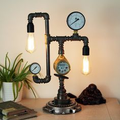 Buy an amazing Metal Plumbing Pipe Lamp for living-room Home decor / Edison lamp / Rustic Home decor / Unique Table lamp Steampunk Desk, Unique Table Lamps, Edison Lamp, Metal Desks, Lamp Socket, Pipe Lamp, Industrial Table, Lamp Design, Ceiling Lamp